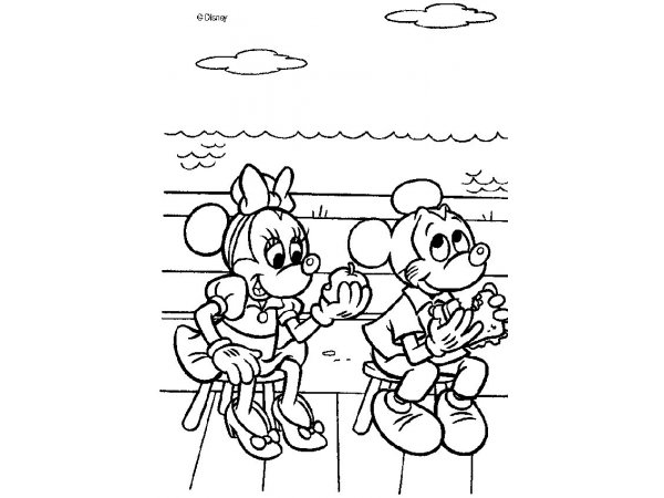 Hora Do Lanche Com Mickey E Minnie Colorir Desenhos